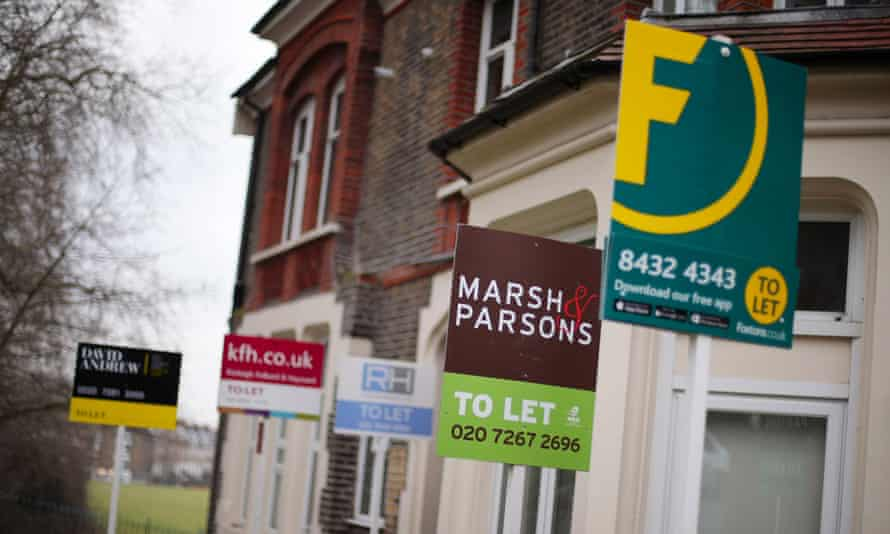 A row of to-let signs on a terrace in north London.