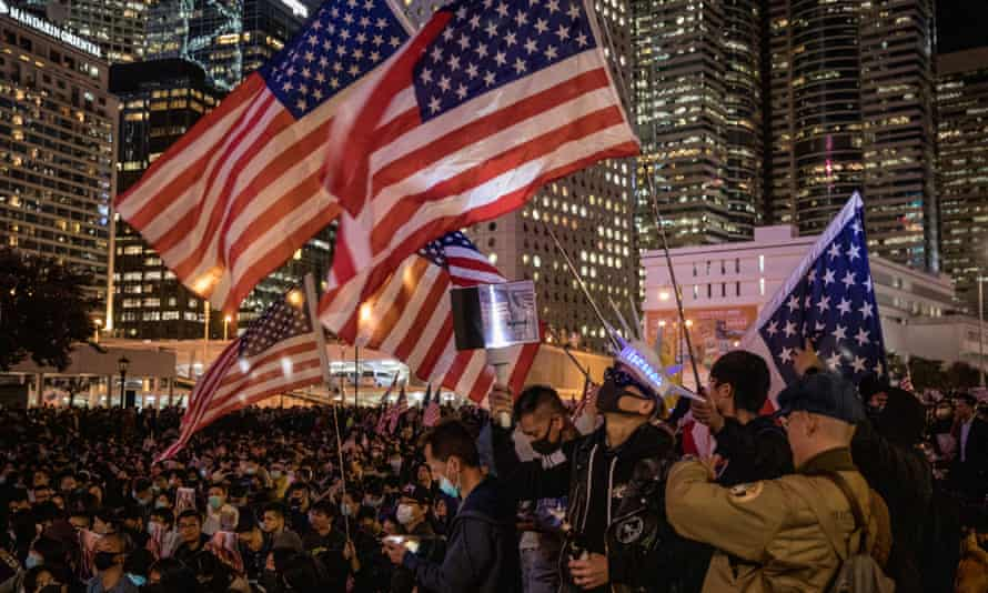 Pro-democracy protesters take part in a Thanksgiving Day rally on Thursday night in Hong Kong to say thank you to Donald Trump.