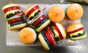 Plastic hamburger earrings