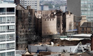 Damaged buildings in the city centre after the blaze at the Mackintosh building at the Glasgow School of Art