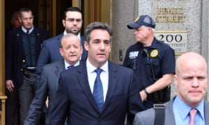 Michael Cohen leaves court in New York City on Wednesday.