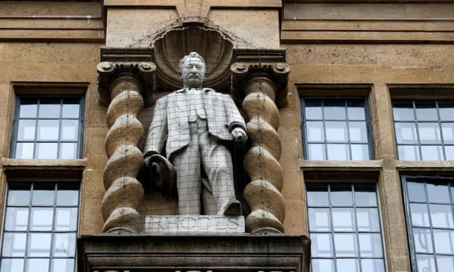 A statue of Cecil Rhodes outside Oriel College in Oxford.