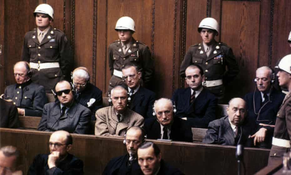 Nazis in the defendant's dock during the Nuremberg trials, 1946.