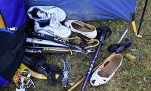 Climbing gear is seen at the base camp of Aymara indigenous women mountaineers