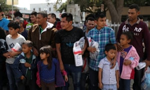 Undocumented immigrant families are released from detention at a bus depot in McAllen, Texas, this week.