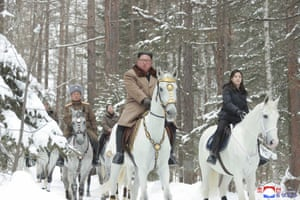 Mount Paektu and white horses are symbols associated with the Kim family's dynastic rule. Kim has made previous visits there before making major decisions.