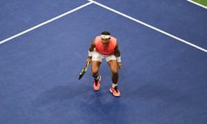 Nadal celebrates winning the second set.