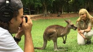 Terri Irwin and a kangaroo