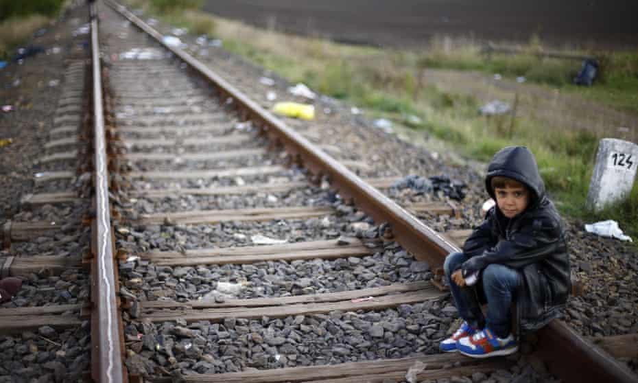 A child refugee in Riszke, near the border between Serbia and Hungary.