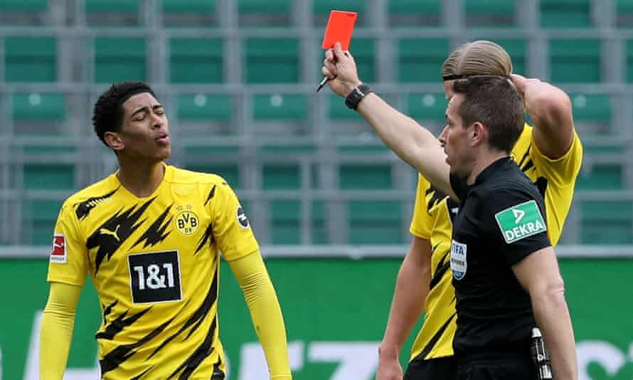 Referee Tobias Stieler shows Jude Bellingham the red card – the England international's first dismissal as a professional.