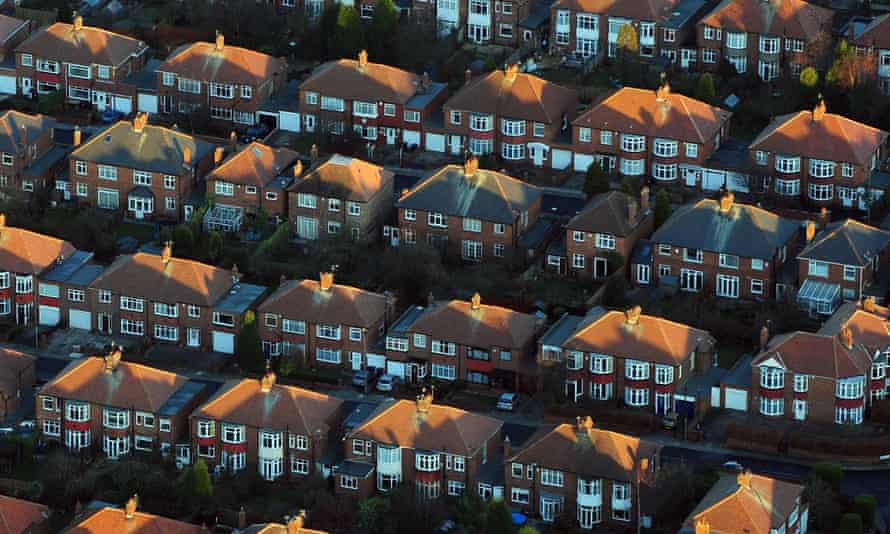 An aerial view of houses in the UK