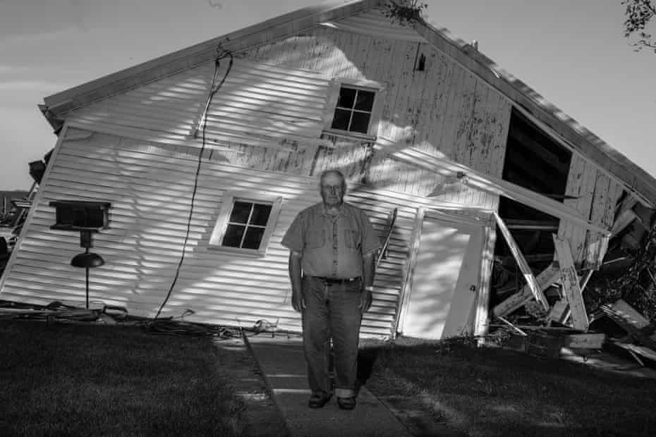"Alvin Pavlis and his wife Donna have farmed their land for nearly fifty years. ""I don't know where to start or what to do."" ""I don't want to live through this again."" Nearly all of their corn crops have been destroyed from the storm's straight line winds. Photo by Jordan Gale"