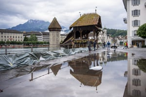 The Reuss River in Lucerne, Switzerland, broke its banks