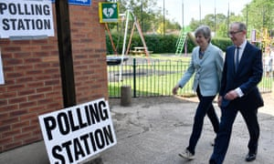 Theresa May and her husband Phillip voting in Sonning, Berkshire.
