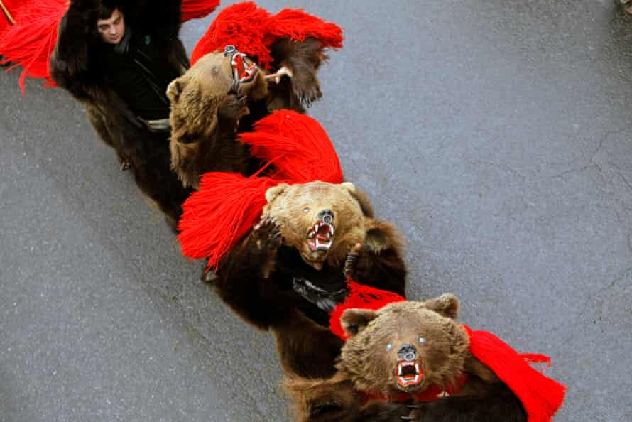 The annual bear dance is performed to drive away evil spirits and to bring good luck in the new year.