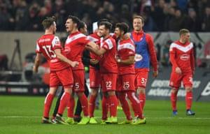 Fortuna Düsseldorf celebrate their 2-1 win.