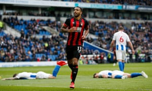 Callum Wilson of AFC Bournemouth celebrates after scoring his team's fourth goal.