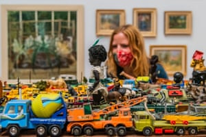London, UKExodus by Zak Ové, which features collectable die-cast cars, and antique dolls, on display at the Royal Academy's 253rd summer exhibition in London, UK