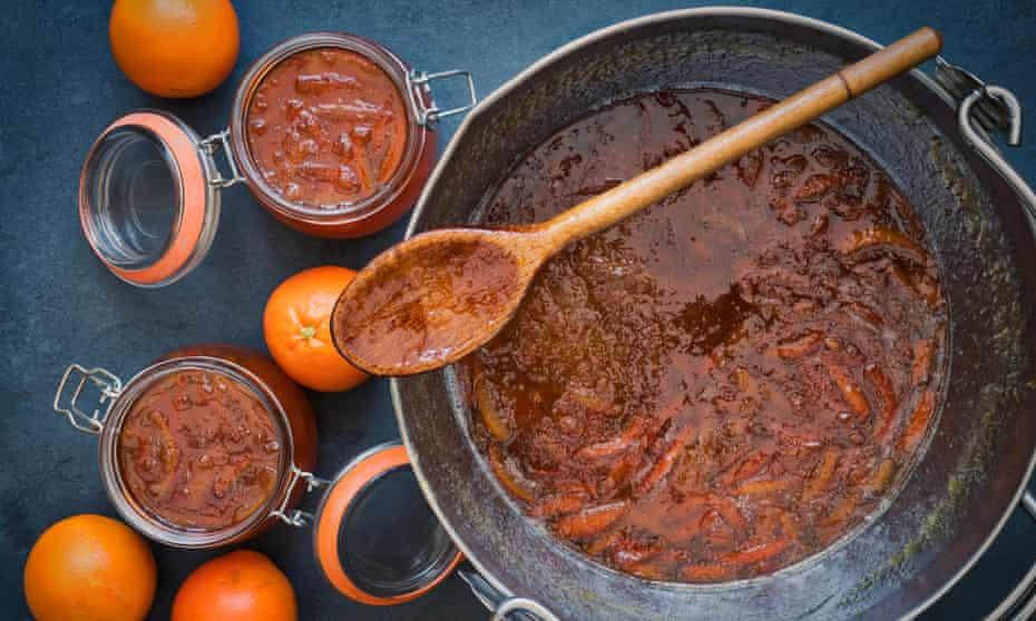 A large pot of homemade marmalade