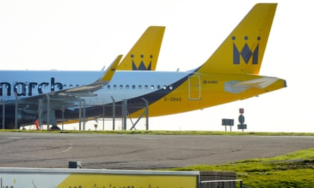 Two grounded Monarch Airlines planes in Luton this week.