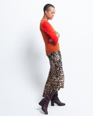 Denise wears jumper, £139, meandem.com. Midi skirt, £250, by Raey, from matchesfashion.com. Boots, £65, next.co.ukPhotographer David Newby. Stylist: Melanie Wilkinson. Stylist's assistant: Penny Chan. Hair: Christopher Gatt using Evo. Makeup: Delilah Blakeney using Laura Mercier