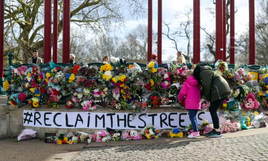 Floral tributes were left on Clapham Common after Saturday's vigil was cancelled.