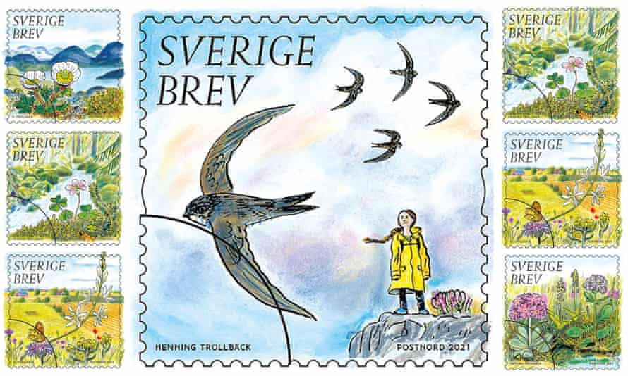 New Swedish post stamp features Greta Thunberg illustrated by Henning Trollback, have environmental themes.