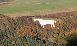 Aerial view of the Kilburn White Horse, North Yorkshire