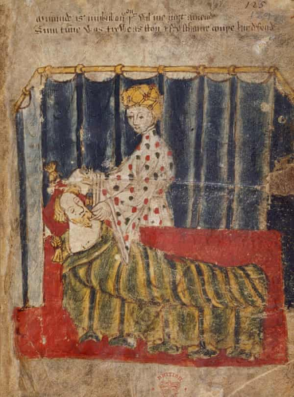 The Green Knight's wife and Gawain, Cotton MS Nero A X.