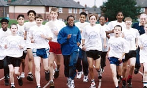 Paula Thomas, as she was then, with youngsters at the Manchester Sports Athletics School in 1994