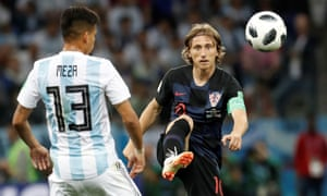 Luka Modric plays the ball during Croatia's extraordinary 3-0 group-stage thrashing of Argentina in Nizhny Novgorod.
