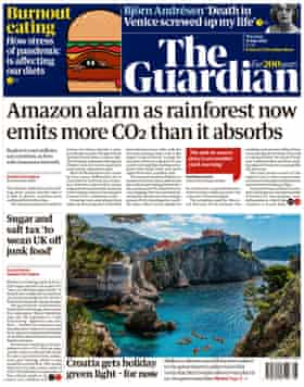 Guardian front page, Thursday 15 July 2021