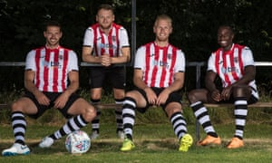 From left: Exeter City's Aaron Martin, Jake Taylor, Jayden Stockley and Jonathan Forte.