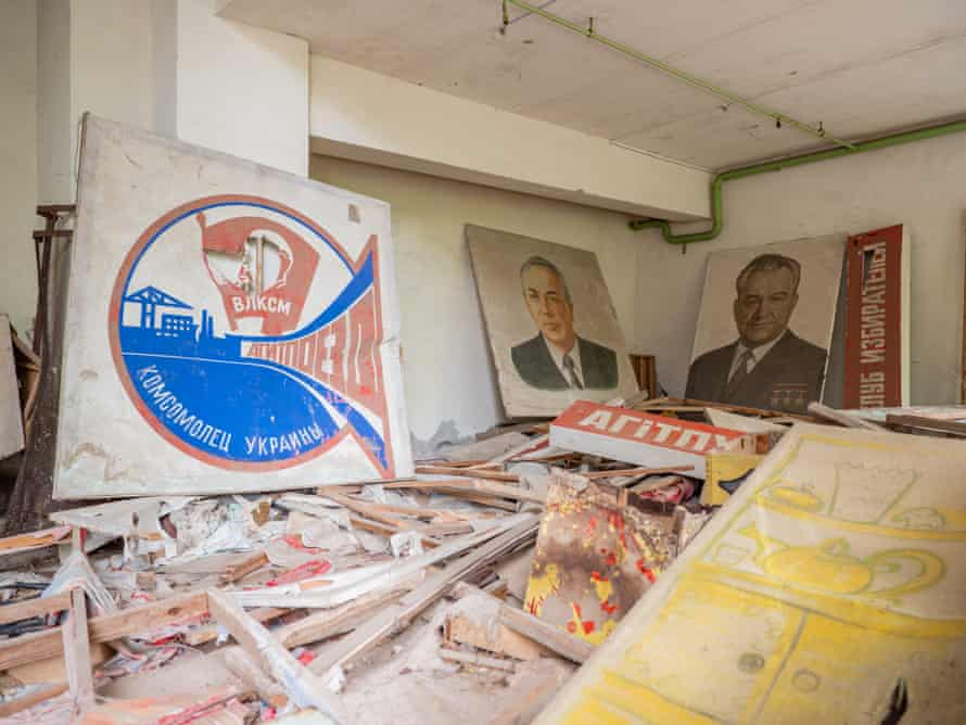 Political party posters in the cultural centre in Pripyat.