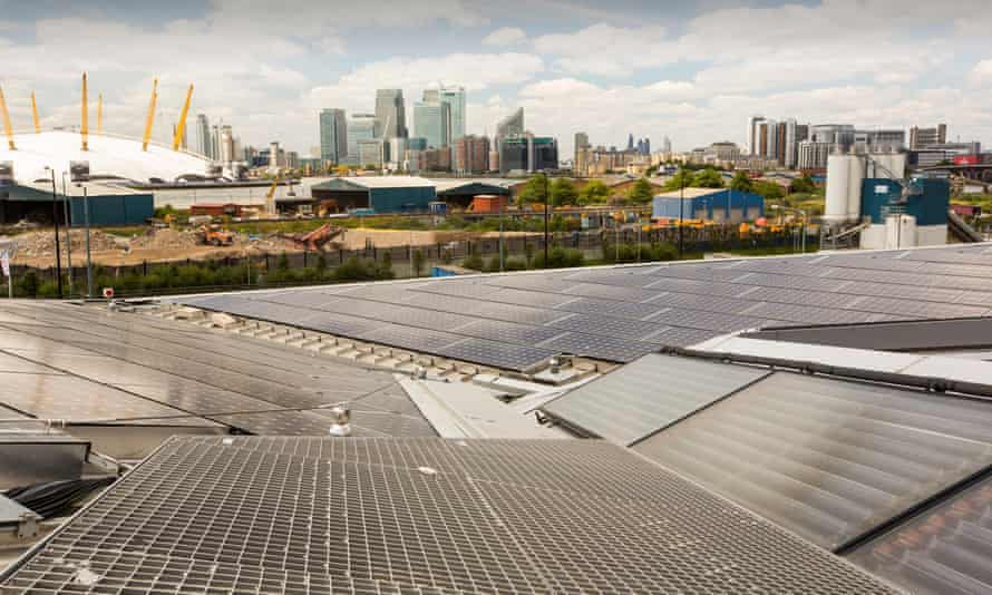 Solar thermal and PV panels on the roof of the Crystal building, London. the capital could deliver a tenfold increase in solar power in the next 10 years, report finds.