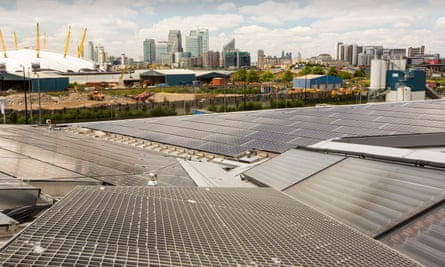 Solar panels on the roof of the Crystal building in London's Docklands