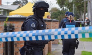 Police conduct a terror raid at a house on Ballarat Road in Braybrook, Melbourne