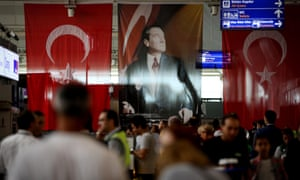 Passengers queue at Atatürk airport after air traffic returned to normal following the terror attack in Istanbul.