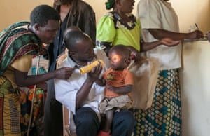 A child having his eyes tested at the health centre