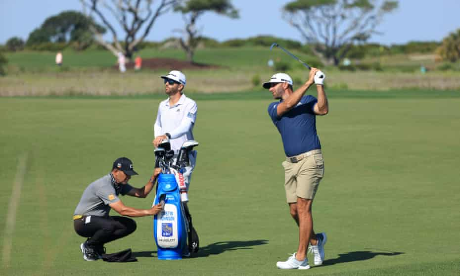 Dustin Johnson, who has been linked with the breakaway super league, plays from the fairway as he prepares for the US PGA Championship at Kiawah Island.
