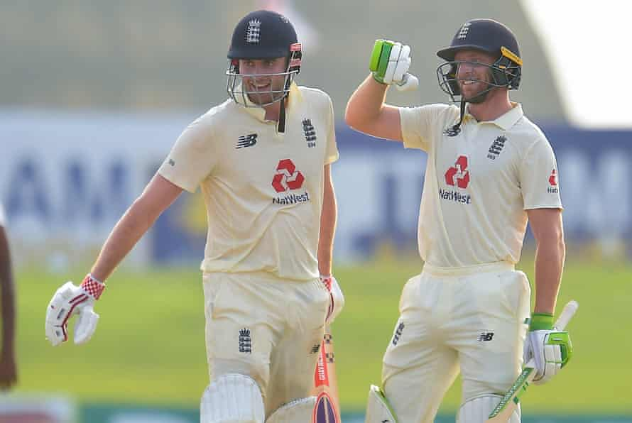 Dom Sibley and Jos Buttler celebrate victory in the second Test