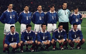 The Yugoslavia team line up before their return leg against Hungary in 1997.