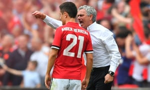 José Mourinho makes a point in the middle of Ander Herrera in the FA Cup semi-final against Tottenham in April