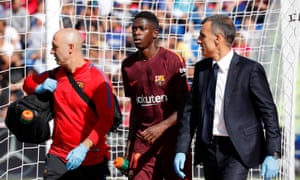 Ousmane Dembele walks off the pitch after being injured against Getafe.