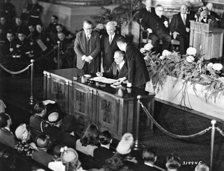 The Nato treaty is signed in Washington DC, 4 April 1949.