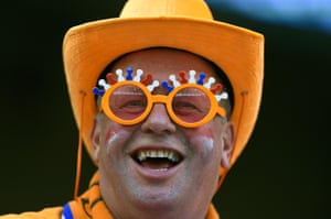 A Holland fan adds a bit of colour to the crowd