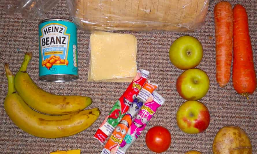 Photograph shows a free school meal pack sent to children which was shared by parents on Twitter.