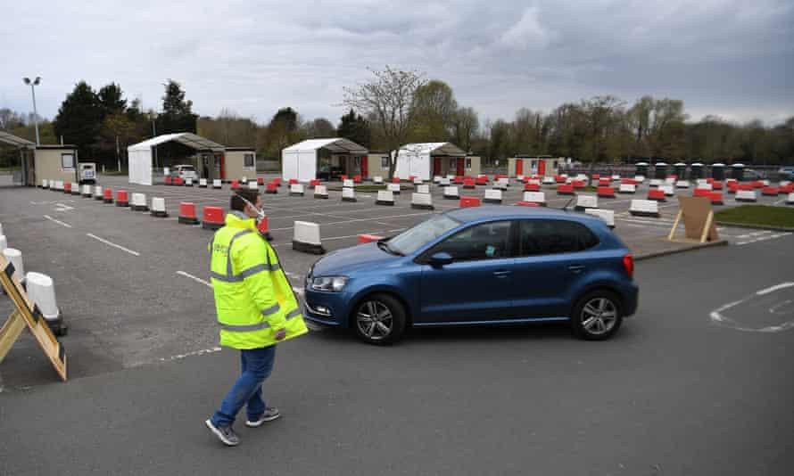 Chessington drive-in coronavirus testing centre, Surrey.