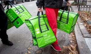 An Amazon Fresh delivery in Brooklyn, New York.