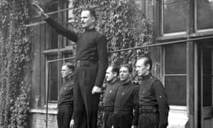 Oswald Mosley, the leader of the Union of British Fascists at a 1933 rally